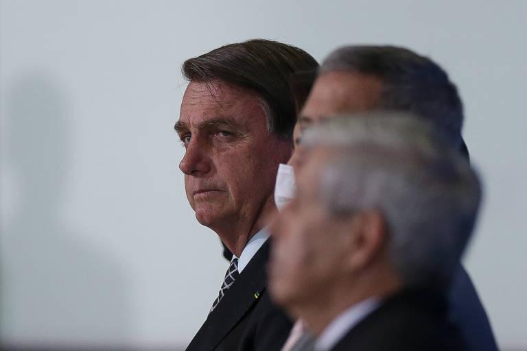O presidente Jair Bolsonaro durante evento em comemoração ao dia do servidor, no Palácio do Planalto, em Brasília