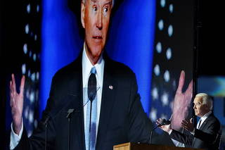 Democratic 2020 U.S. presidential nominee Joe Biden speaks at his election rally in Wilmington