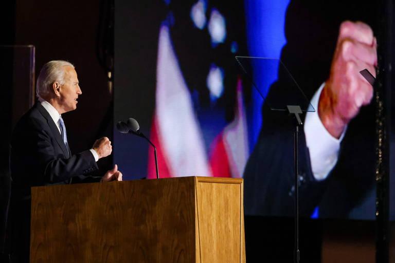 Joe Biden discursa como presidente eleito dos EUA