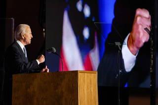 Democratic 2020 U.S. presidential nominee Joe Biden's election rally, after news media announced that he has won the 2020 U.S. presidential election, in Wilmington, Delaware