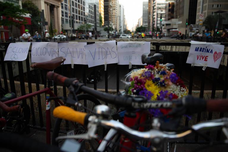Homenagem à ciclista Marina Kohler Harkot, morta por atropelamento na zona oeste de São Paulo