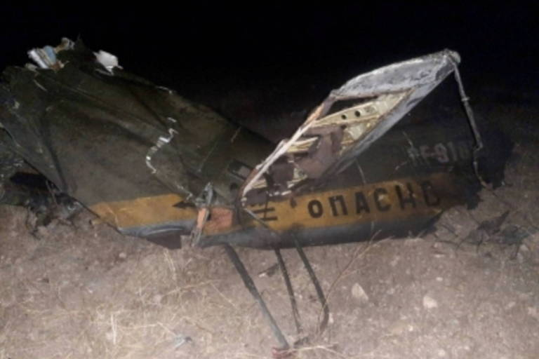 Imagem do governo armênio mostra o que seriam destroços do helicóptero russo derrubado