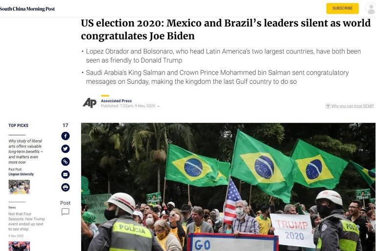 """Reprodução do site South China Morning Post, com o título  """"Líderes de México e Brasil quietos enquanto o mundo parabeniza Joe Biden"""""""