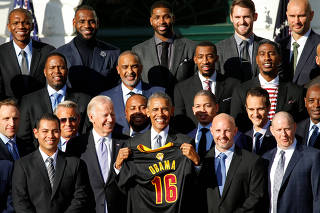 Obama hosts the Cleveland Cavaliers basketball championship team at the White House in Washington