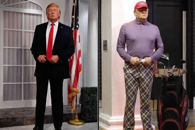 Museu de cera Madame Tussauds de Londres muda a roupa de Donald Trump, que estava jogando golfe quando saiu o resultado da eleição dos EUA, no sábado (7)