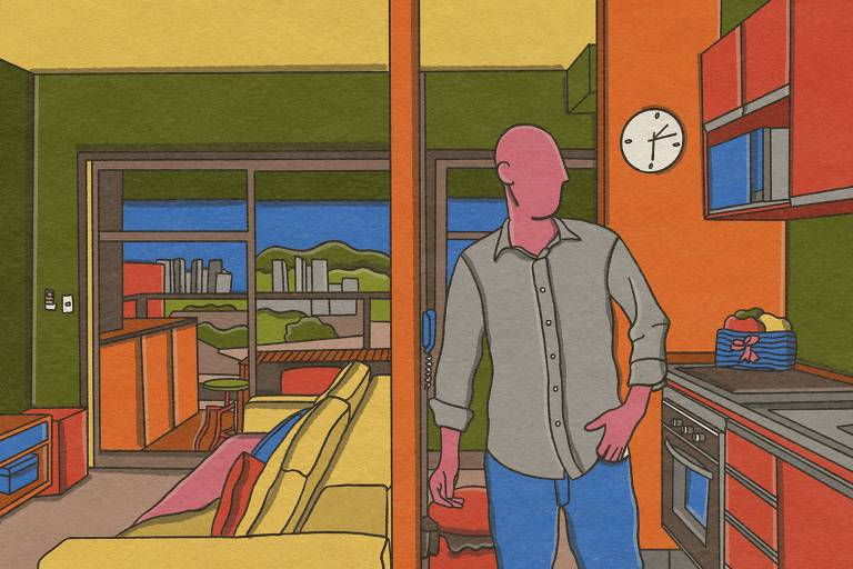 Ilustração mostra Bruno Covas em sua casa