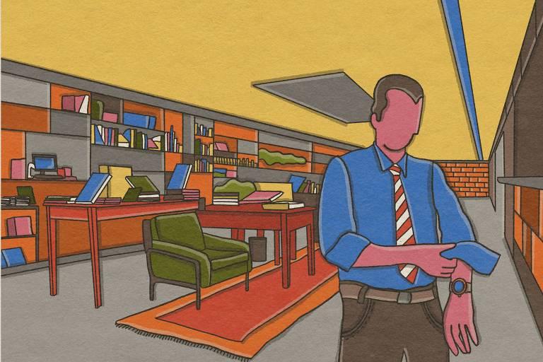A ilustração mostra Celso Russomano em um escritório