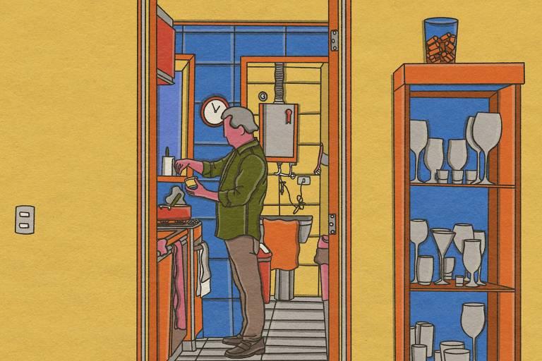 Ilustração mostra Marcio França em sua casa