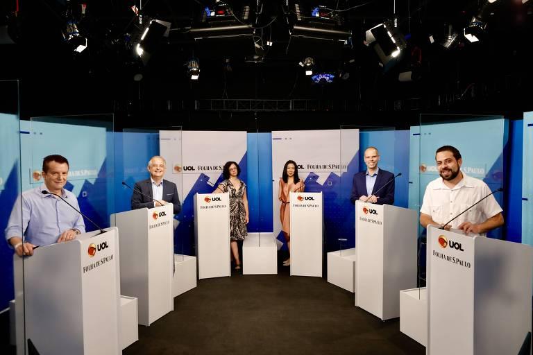 Debate entre os candidatos a prefeito de São Paulo Bruno Covas (PSDB), Celso Russomanno (Republicanos), Guilherme Boulos (PSOL) e Márcio França (PSB) realizado na sede do UOL, na zona oeste de São Paulo