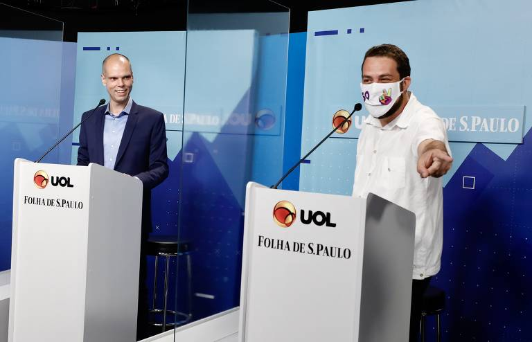 Celso Russomanno e Bruno Covas durante debate entre os candidatos a prefeito de São Paulo realizado na sede do UOL, na zona oeste de São Paulo