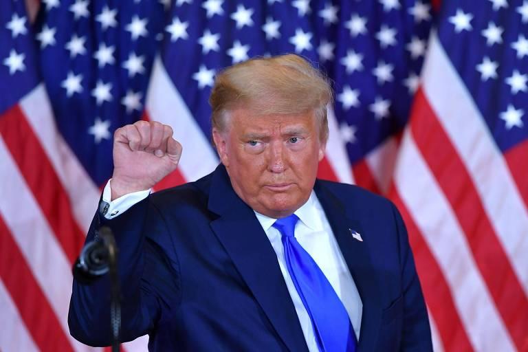O republicano Donald Trump, derrotado na tentativa de se reeleger para a Presidência dos EUA pelo democrata Joe Biden, durante pronunciamento na Casa Branca, em Washington