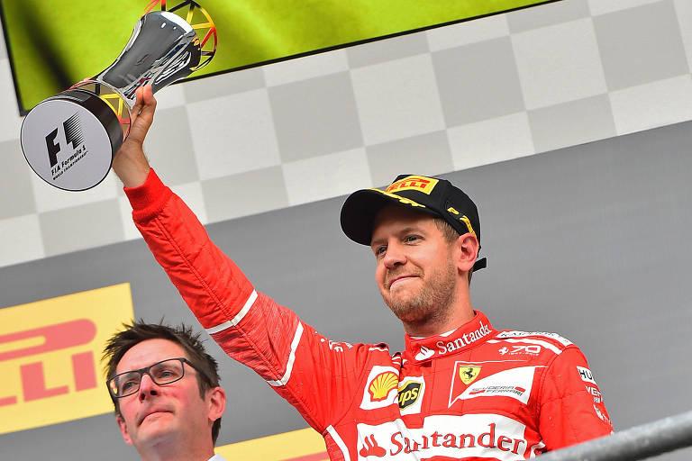 Imagem do piloto Sebastian Vettel, da Ferrari, durante o Gran Premio de Bélgica de Fórmula 1.
