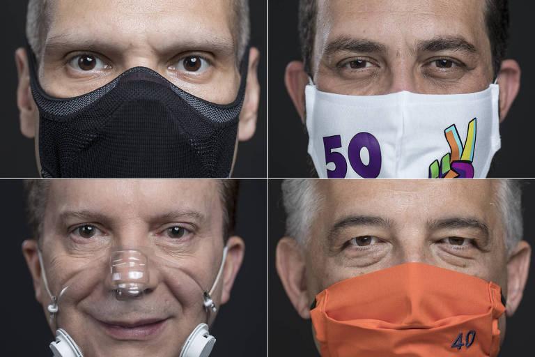 Mosaico com quatro fotos fechadas nos rostos dos candidatos, com suas máscaras respectivas.
