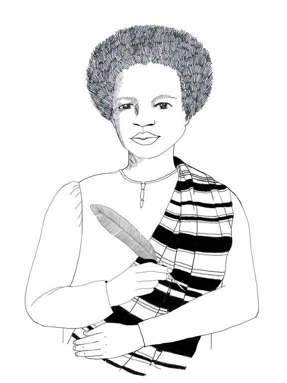 desenho em preto e branco de mulher negra, com cabelo black power, segura uma pena em uma das mãos e veste uma blusa branca com um lenço caindo aos ombros.