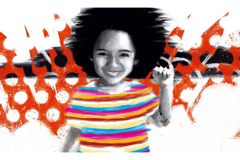 Ilustração de menina negra sorrindo e vestindo uma camiseta com listras coloridas. Há uma textura em vermelho aplicada sob a ilustração