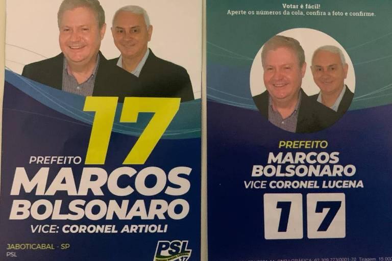 frente e verso de panfleto mostra nomes de candidatos à Prefeitura de Jaboticabal