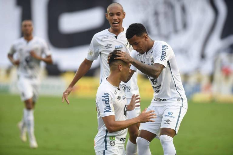Kaio Jorge comemora gol. Partida entre Santos x Internacional