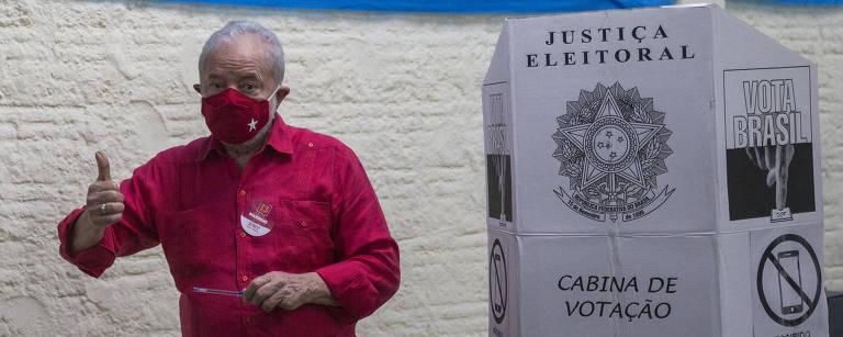 O ex-presidente Lula durante as últimas eleições municipais, em São Bernardo do Campo