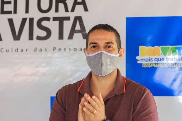 O atual vice-prefeito de Boa Vista, Arthur Henrique, que concorre no segundo turno à prefeitura