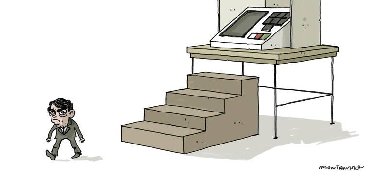 Charge de João Montanaro mostra o presidente Jair Bolsonaro andando no sentido oposto ao de uma escada gigante que leva a uma urna eletrônica também gigante