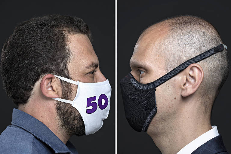A esq. Retrato do candidato Guilherme Boulos (PSOL) com sua mascara; a dir. Retrato de Bruno Covas (PSDB) de mascara