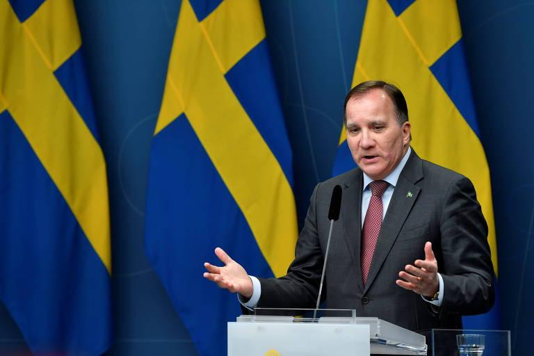 O primeiro-ministo da Suécia, Stefan Lofven, durante entrevista coletiva em Estocolmo