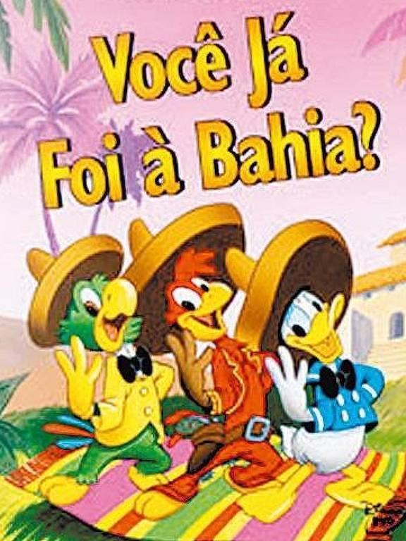 Zé Carioca e amigos usando chapéus mexicanos no Brasil sorriem para a câmera