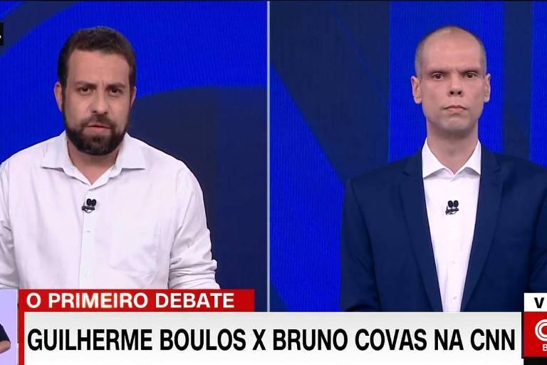 16.11.2020 - Candidatos ao segundo turno, Guilherme Boulos (PSOL) e Bruno Covas (PSDB) participam de debate na CNN Brasil