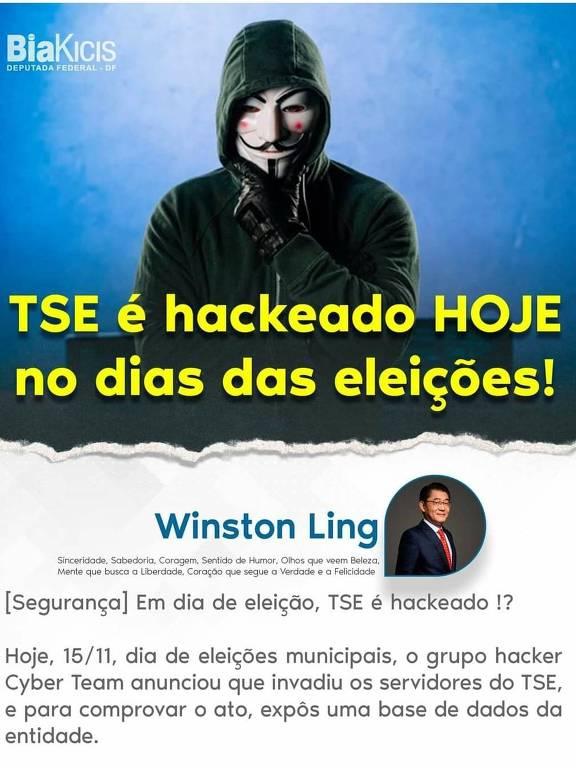 Publicação com citação de Wiston Ling e marca d'água da parlamentar Bia Kicis
