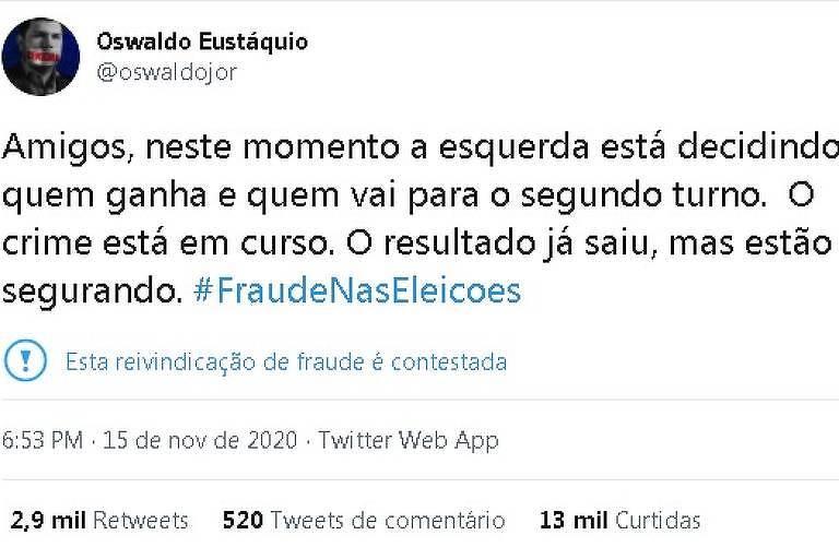Publicação do blogueiro Oswaldo Eustáquio diz, sem provas, que eleições foram fraudadas