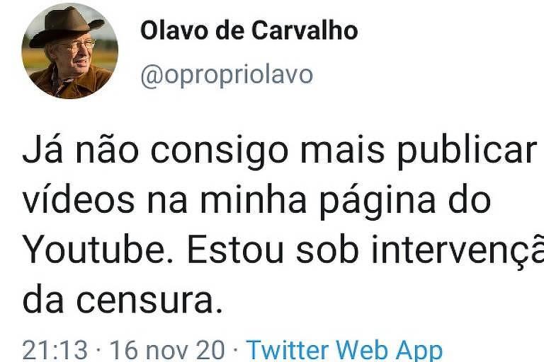 Olavo afirma que foi censurado, mas YouTube diz que ele pode procurar Central de Ajuda
