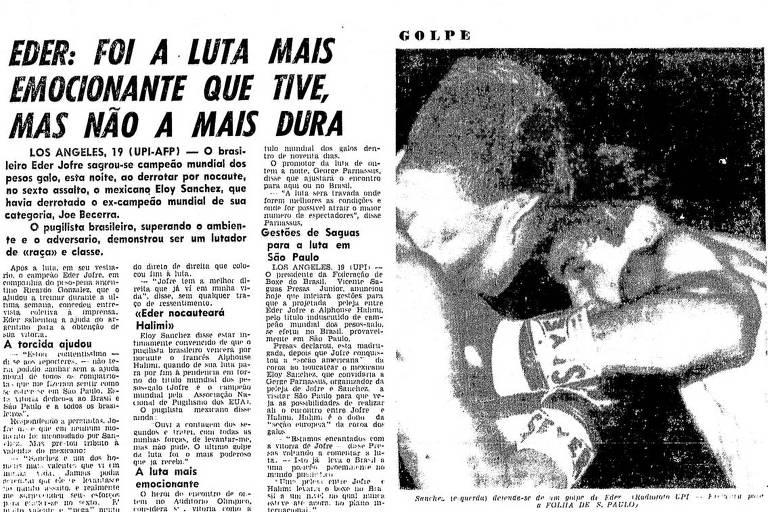 Reprodução da Folha de S.Paulo de 20/11/1960, que relatava a vitória de Eder Jofre sobre Eloy Sanchez, em 18/11/1960; triunfo deu ao brasileiro o título mundial dos galos