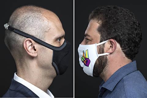A esq. Retrato do candidato Guilherme Boulos (PSOL) com sua mascara; a dir. Retrato de Bruno Covas (PSDB) de mascara . Foto:Eduardo Knapp/Folhapress