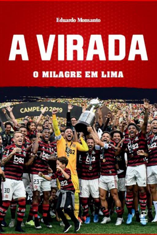 Capa em vermelho e preto tem foto dos jogadores com a taça da Libertadores