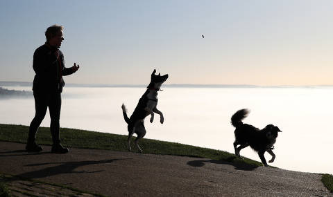 A woman throws her dogs a treat, as mist is seen from Glastonbury Tor in Glastonbury, Britain, November 4, 2020. REUTERS/Peter Cziborra ORG XMIT: AI