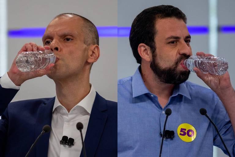 Bruno Covas e Guilherme Boulos durante o debate realizado na Band na sexta (20)