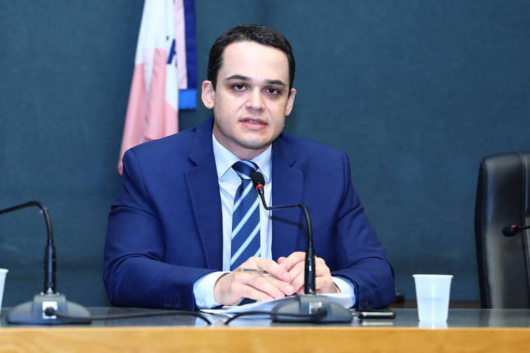 O deputado estadual Delegado Pazolini, candidato do Republicanos à Prefeitura de Vitória