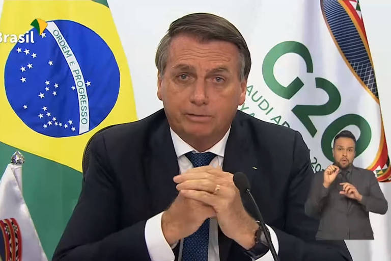 O presidente Jair Bolsonaro discursa durante o G20, realizado de forma virtual neste ano por causa da pandemia do novo coronavírus