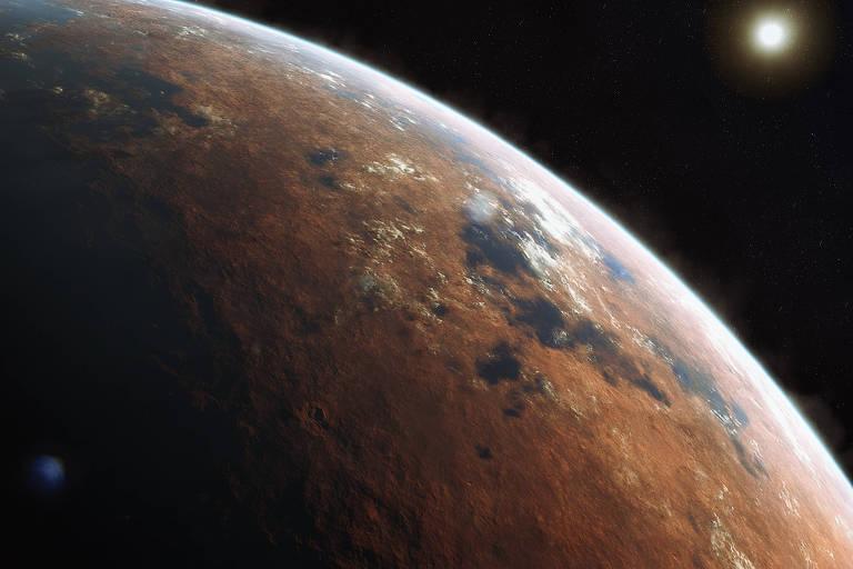Simulação em computação gráfica de como a superfície do planeta Marte seria caso houvesse água nele