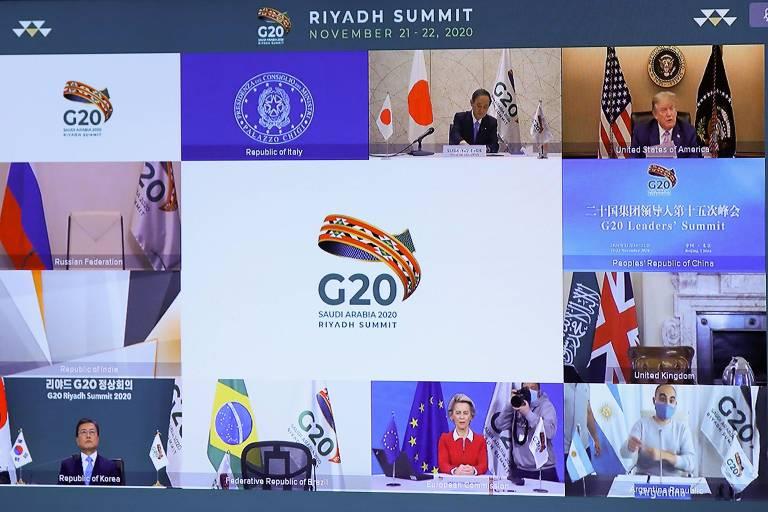 Presidente dos Estados Unidos Donald Trump (canto superior direito) durante conferência do G20. O encontro foi feito por videoconferência devido à pandemia
