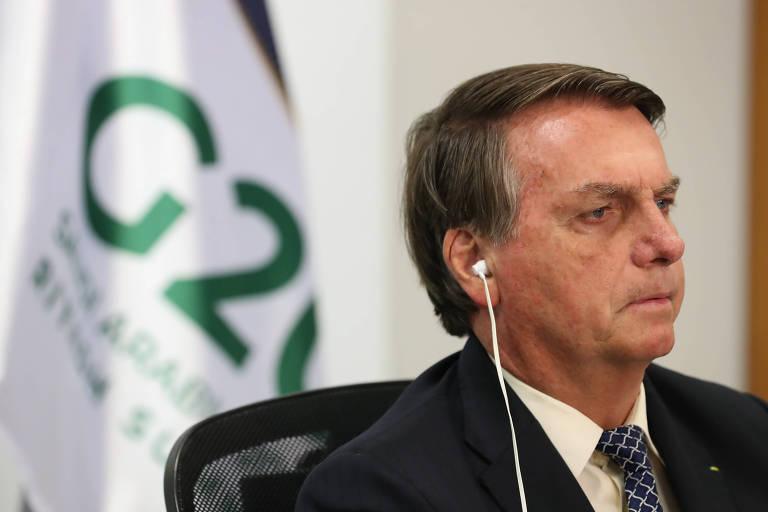 Presidente Jair Bolsonaro (sem partido) durante videoconferência da Cúpula do G20 neste domingo (22)