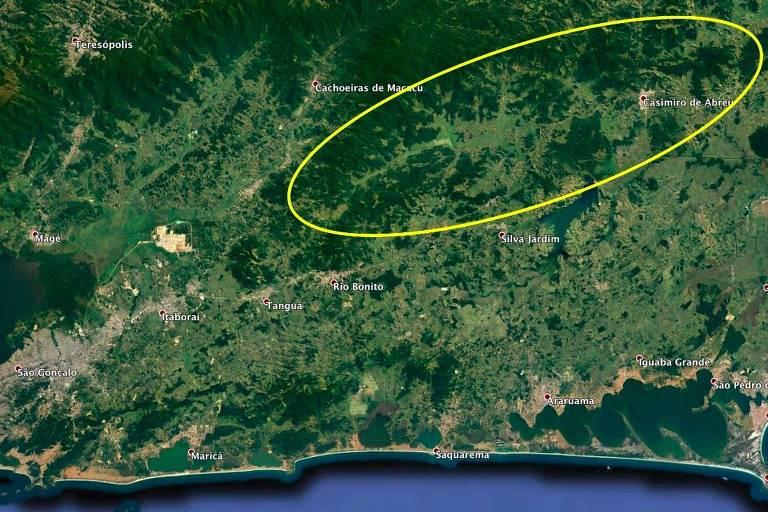 Mapa mostra área de vacinação dos micos-leões-dourados, nos municípios de Silva Jardim, Casimiro de Abreu e Rio Bonito (RJ)