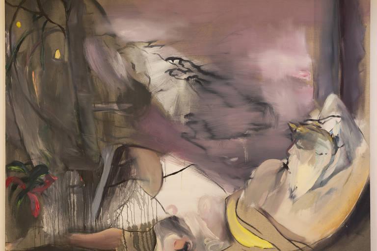 Pintura de Daniel Lannes exibida na mostra 'Pernoite', na galeria paulistana Kogan Amaro