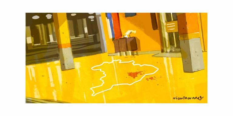 Charge ilustra o cenário do Carrefour onde Beto foi assassinado. No lugar onde ele estava, está um contorno feito com giz do mapa do país, com sangue dentro.