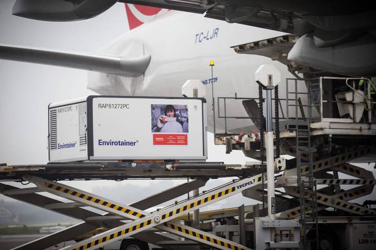 Primeiro lote de 120 mil unidades da Coronavac é desembarcado em São Paulo na quinta passada (19)