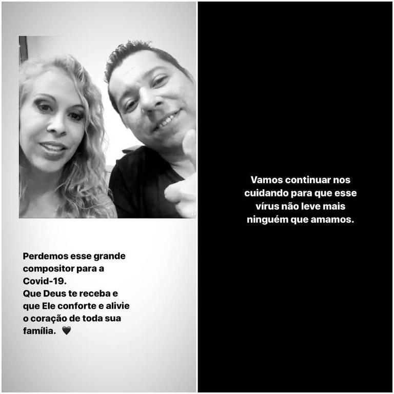 Cantora Joelma lamenta morte do cantor e compositor Louro Santos