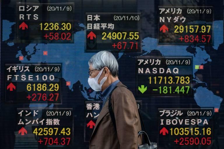 Homem idoso caminha em frente a um painel da Bolsa Nikkei