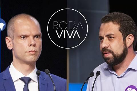 Bruno Covas (PSDB), o atual prefeito de São Paulo, e Guilherme Boulos (PSOL) no Roda Viva