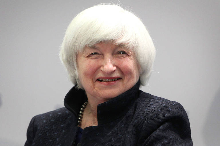 A economista Janet Yellen, escolhida por Joe Biden como secretária do Tesouro, participa de evento do Banco Central Europeu em Frankfurt em 2017