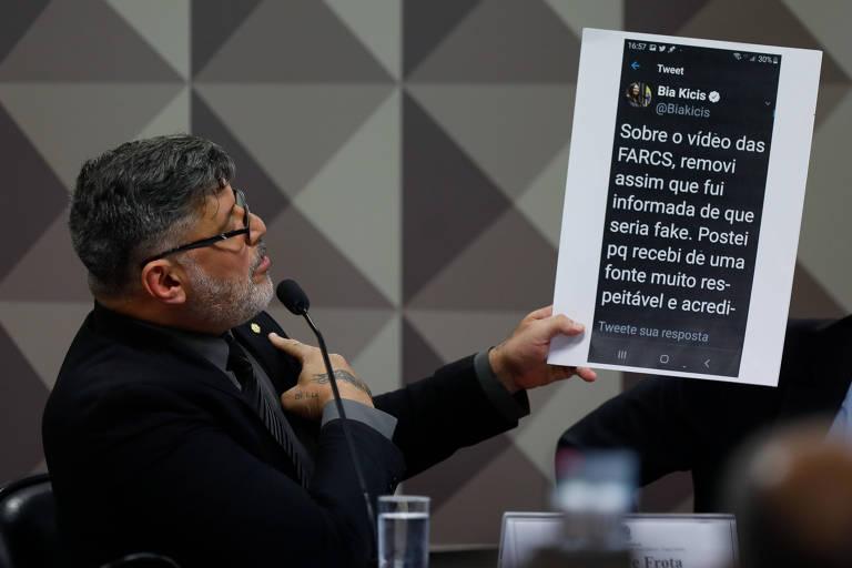 O deputado Alexandre Frota (PSL-SP) durante depoimento na CPMI das Fake News, em Brasília
